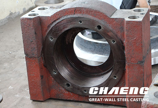 Heavy bearing housing steel casting manufacture